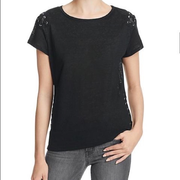 Generation Love Oliver Lace Up Tee in Black